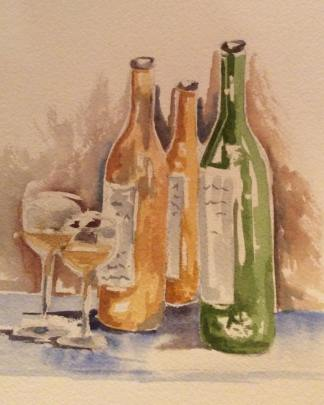 Table Wine Original Watercolor GIFT