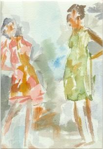Girl Talk Original Watercolor Gift