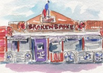 Sold. The Spoke. The Broken Spoke Original Watercolor, Cards and prints available.