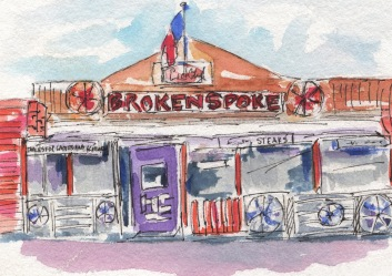 The Spoke. The Broken Spoke Original Watercolor, Cards and prints available.