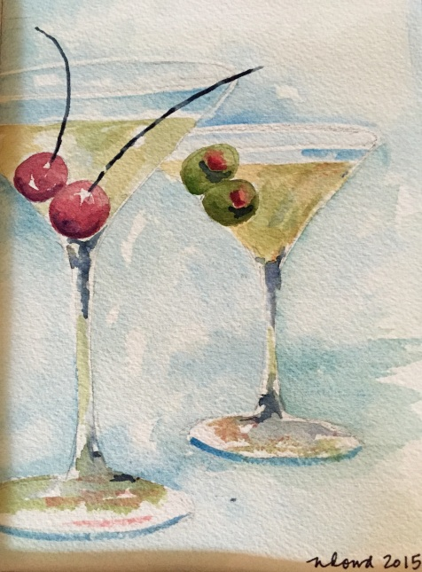 Martinis for Two Original Watercolor Donated to Meredith's Mission for Melanoma Awareness Gala 2017 Cards and prints are available.