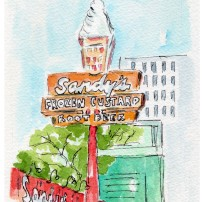 Afternoon Delight Original Watercolor of Sandy's Hamburgers. Cards and prints available