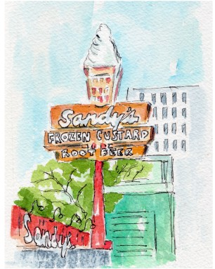 Afternoon Delight Original Watercolor of Sandy's Hamburgers. Cards, prints and flour sack tea towels available.