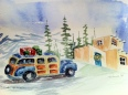 Woody in Paradise -Original Watercolor, SOLD  4 5X7 Holiday Cards with lined envelopes $20