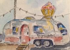 Trailer Heaven Original 5X7 Watercolor of Hey Cupcake! SOLD Cards and prints available
