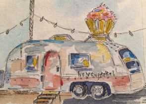 Trailer Heaven Original 5X7 Watercolor of Hey Cupcake! SOLD Cards, prints and tea towels available.