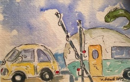 Happy Camper ORIGINAL Watercolor SOLD. Cards and prints are available.