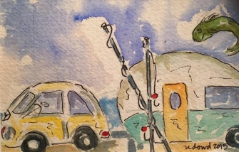 Sold. Happy Camper ORIGINAL Watercolor SOLD. Cards and prints are available.