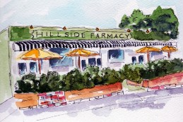 Farm to Table Decedence Original Watercolor of Hillside Farmacy available. Cards and prints are available.