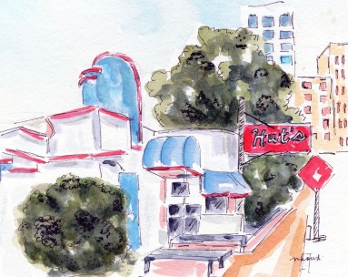 I'll have the Theta Burger Original Watercolor of Hut's Hamburgers Cards and prints available