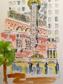 Now Showing Original Watercolor of The Paramount Theatre SOLD Cards, prints and flour sack tea towels available.