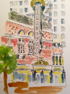 Sold. Now Showing Original Watercolor of The Paramount Theatre SOLD Cards and prints available.