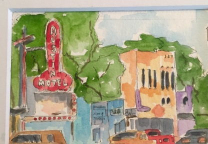 So Far Out Original Watercolor of The Austin Motel for sale. Cards and prints available.