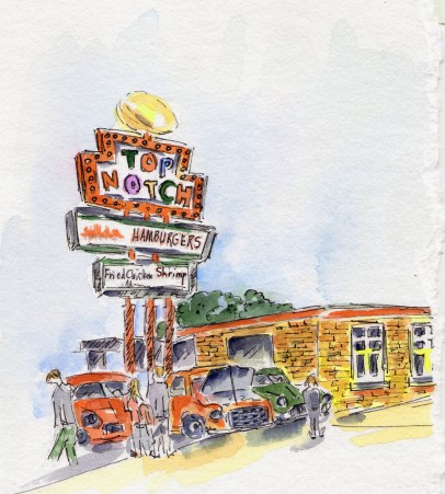 Under the Hood Original Watercolor of Top Notch available. Cards, prints and flour sack tea towels available.