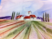 Under the Tuscan Sun Original Watercolor SOLD. Cards and prints available.