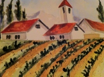 Lavender Fields Forever Original Watercolor SOLD, Cards and prints available.