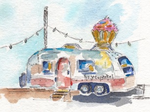 Hey Cupcake! Original Watercolor SOLD. Cards, prints and flour sack tea towels available.