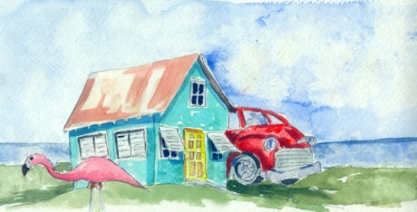 Love Shack Original Watercolor SOLD