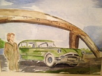 Gwen and the Packard Original Watercolor SOLD.