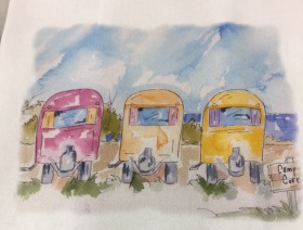 Tres Amigos original watercolor for sale. Cards, prints and flour sack tea towels available.