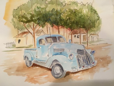 Old Blue Original Watercolor SOLD. Cards and prints available.