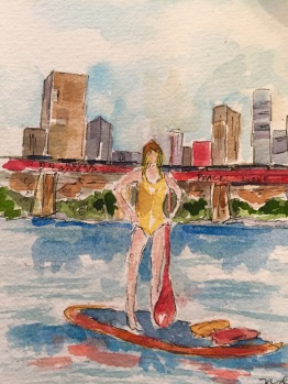 Original watercolor of paddle-boarder on Lady Bird Lake. Prints and cards available.