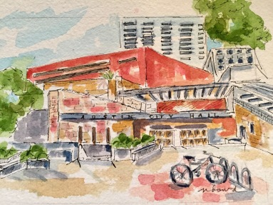 Austin's City Hall original, Cards and prints available.